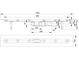 dallmer duschrinne ceraline plan f baul nge 900mm waagrecht. Black Bedroom Furniture Sets. Home Design Ideas