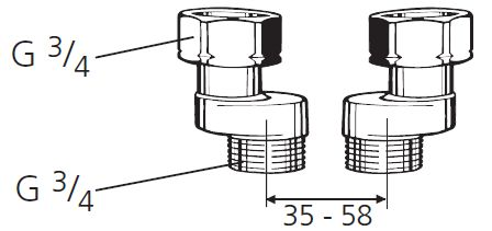 ventilblock s anschluss 3 4 achsabstand 35mm bis 65mm. Black Bedroom Furniture Sets. Home Design Ideas