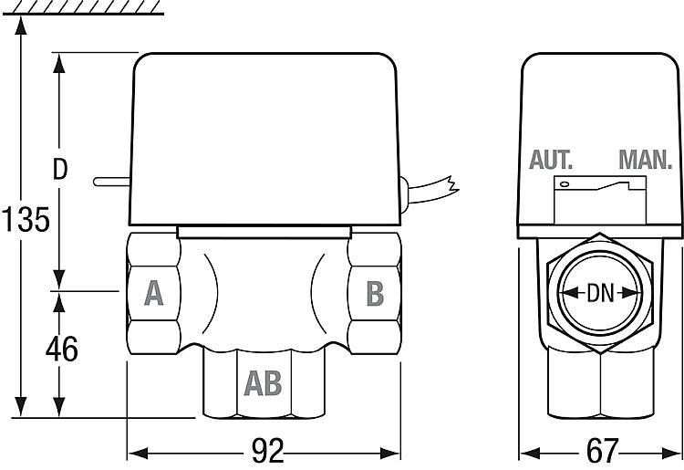 mut 3 wege zonenventil mit innengewinde dn 25 24 volt. Black Bedroom Furniture Sets. Home Design Ideas