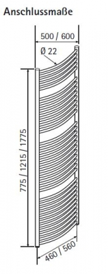 hsk badheizk rper line round 600 x 1775 mm freie farbwahl. Black Bedroom Furniture Sets. Home Design Ideas
